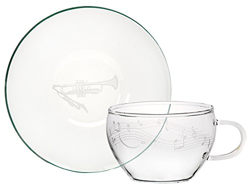 ミュージックサンドブラスト 耐熱ガラス カップ&ソーサー トランペット 39S054