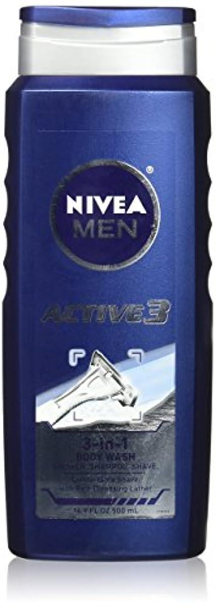 厚さ面倒咽頭NIVEA MENS BODY WASH ACTIVE 3 16.9 OZ by Nivea Men