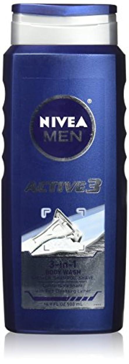 パフ耐久質素なNIVEA MENS BODY WASH ACTIVE 3 16.9 OZ by Nivea Men