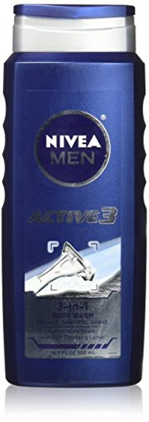 ヨーロッパラフ睡眠難破船NIVEA MENS BODY WASH ACTIVE 3 16.9 OZ by Nivea Men