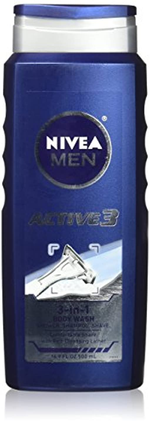 縮約必需品調和NIVEA MENS BODY WASH ACTIVE 3 16.9 OZ by Nivea Men