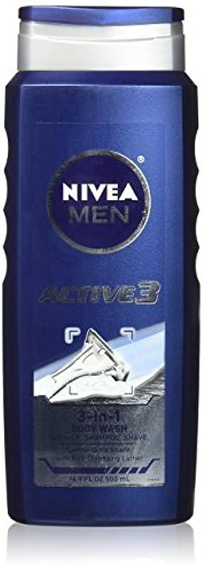 事前アウトドアスラムNIVEA MENS BODY WASH ACTIVE 3 16.9 OZ by Nivea Men