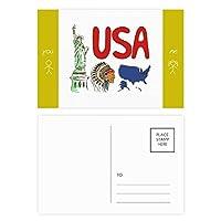 アメリカ の国家の象徴のランドマークのパターン 友人のポストカードセットサンクスカード郵送側20個