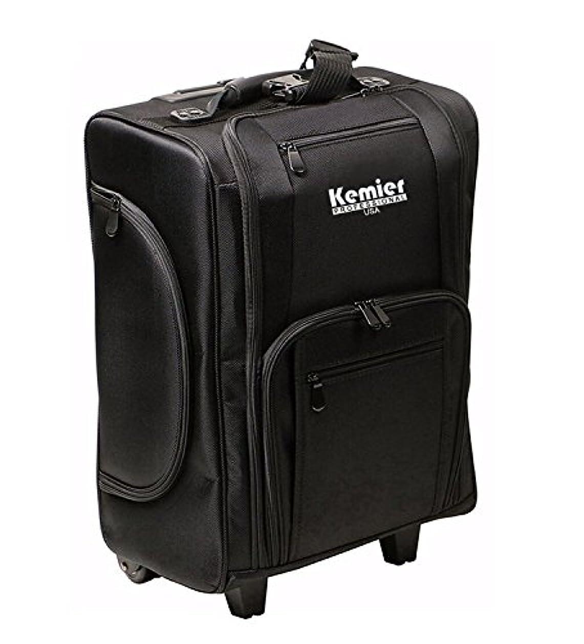 地味な観察ガソリンKemier 袋を備えたポータブル化粧品オーガナイザーソフト両面ナイロン製 圧延化粧ケース ブラック
