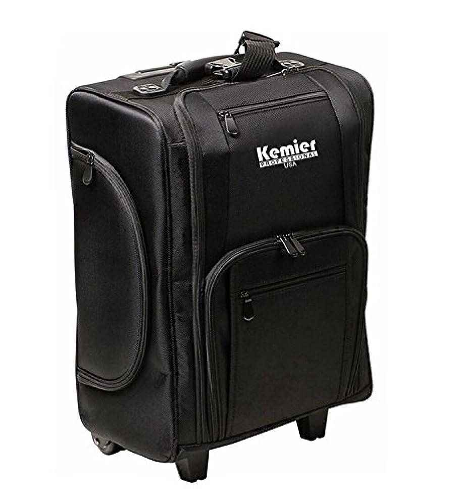 宅配便バランスワークショップKemier 袋を備えたポータブル化粧品オーガナイザーソフト両面ナイロン製 圧延化粧ケース ブラック