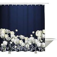 シャワーカーテン 白いチューリップ花 防水 防カビ 加工 バスルーム 風呂 浴室 カーテン 間仕切り 遮像 デコレーション リング付属 取り付け簡単 幅180x高さ240cm