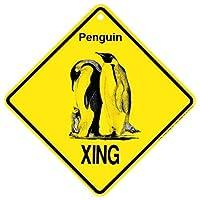 S-RONG雑貨屋 ペンギン興警告クロスサイン野生生物ギフトティンサイン