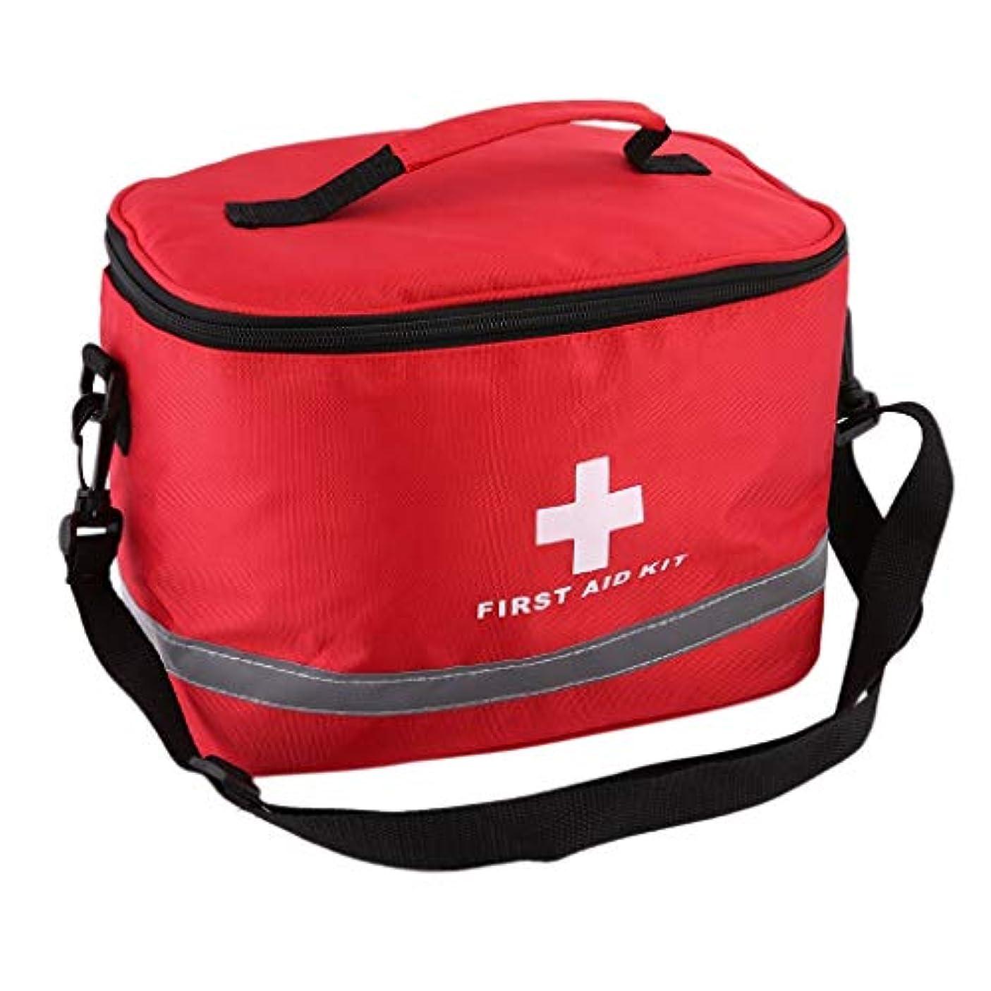 水っぽい司法驚いたことにDjyyh 医療緊急サバイバル応急処置キットバッグ - レッドナイロン高密度リップストップスポーツキャンプ