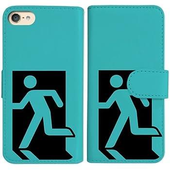 eec4bc05d5 sslink iPod touch6 アイポッドタッチ6 手帳型 ブルー ケース 非常口(ブラック) ダイアリータイプ 横開き カード収納 フリップ  カバー