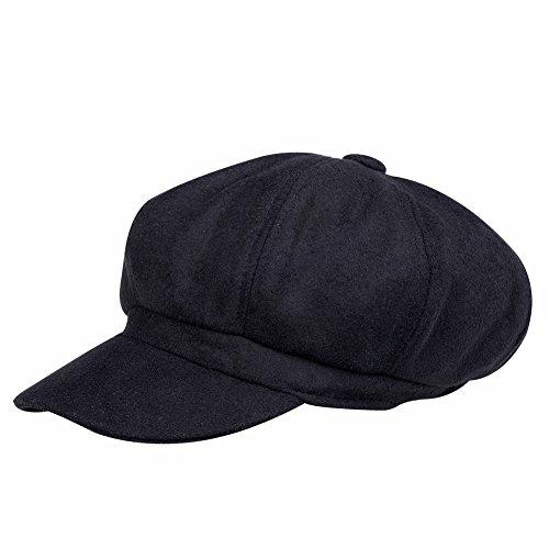 VBIGER 帽子 メンズ レディーズ キャスケット ワークキャップ ニュースボーイキャップ カジュアル アウトドア(ブラック)