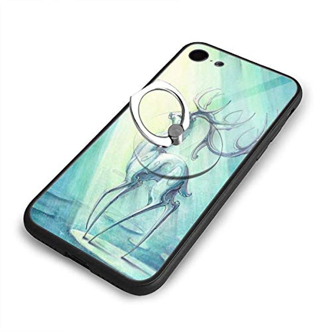 敵対的不要活力Mysterious Christmas Reindeer Iphone 7/8 Tpuガラス電話ケース +丸型ブラケット落下防止 傷なし
