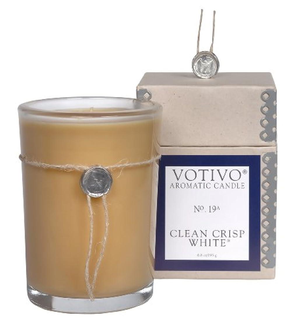 商品ロースト土地VOTIVO アロマティック グラスキャンドル クリーンクリスプホワイト