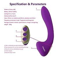 MXD 10周波数振動スティックソフトシリコン防水簡単にきれいにする女性の緩いおもちゃジーンズ (Color : Purple)