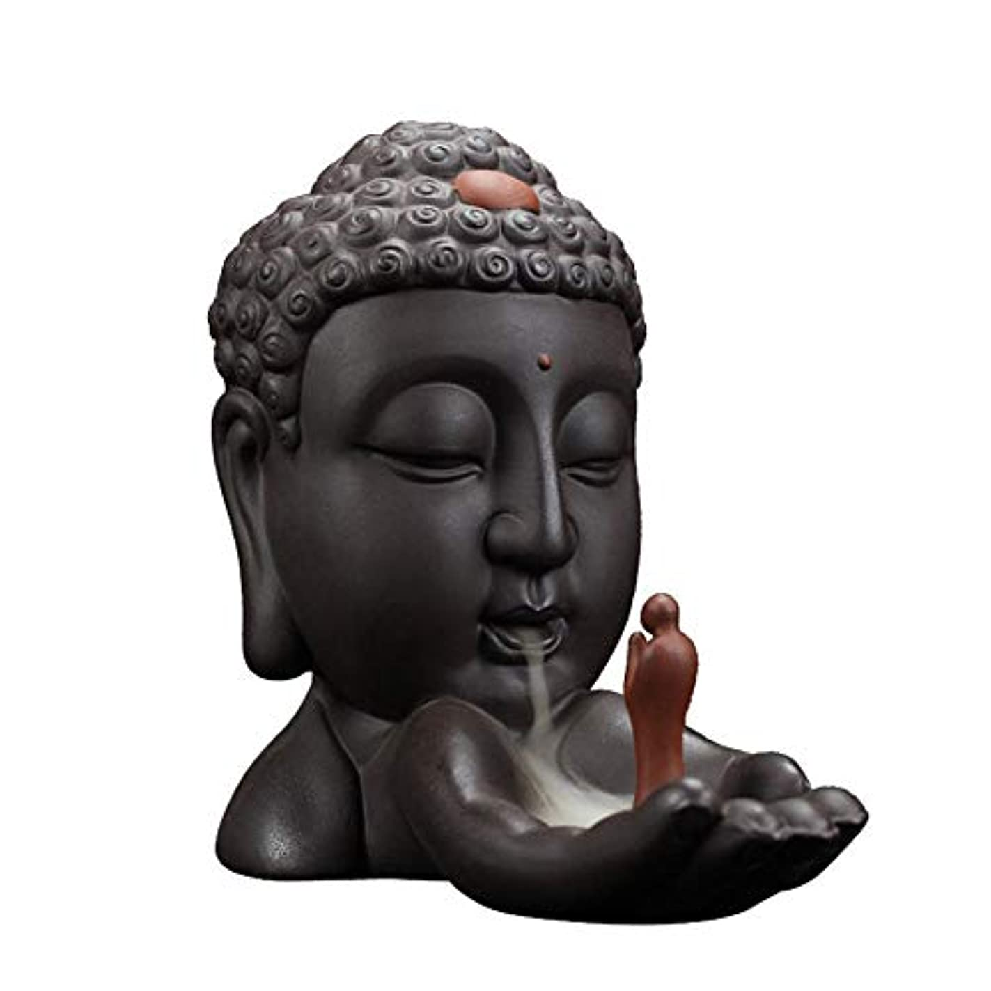 ビバびん麦芽Alenx Backflow Incense Burner Buddha、長い燃焼香炉、Backflow Incense Burner Waterfall 1 Incense Burner + 10pcs Backflow Incense Cones