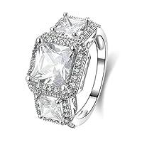 Adisaer【アディサー】 リング レディース 純銀製 シルバー 輝き キラキラ ホワイト 8MM ダイヤモンド エレガント 多粒 バレンタインデー プロポーズ 婚約指輪 サイズ: 16号