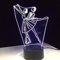 Dtcrzj Ha バレエダンス女性男性デザインアクリル3Dナイトランプホームオフィスベッドサイドデコレーション学校卒業ギフト