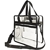 Clear zipper tote bag with detachable shoulder strap