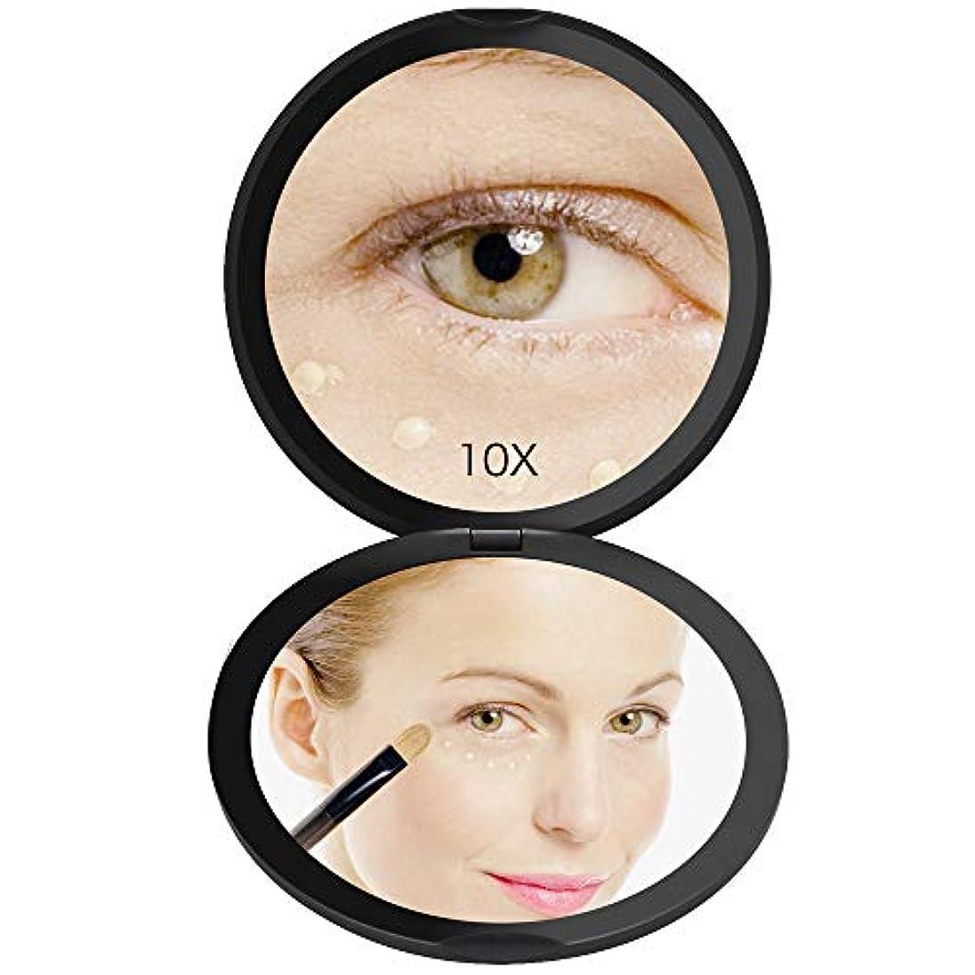スピーカー現代干渉FASCINATE 化粧鏡 化粧ミラー 鏡 女優ミラー 拡大鏡 10倍 明るさ調節可能 電池給電 (ブラック)