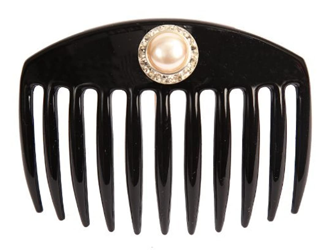 スカーフ不良品貨物Caravan Hand Decorated French Comb with Large Pearl and Swarovski Stones In Silver Setting, Black.65 Ounce [並行輸入品]
