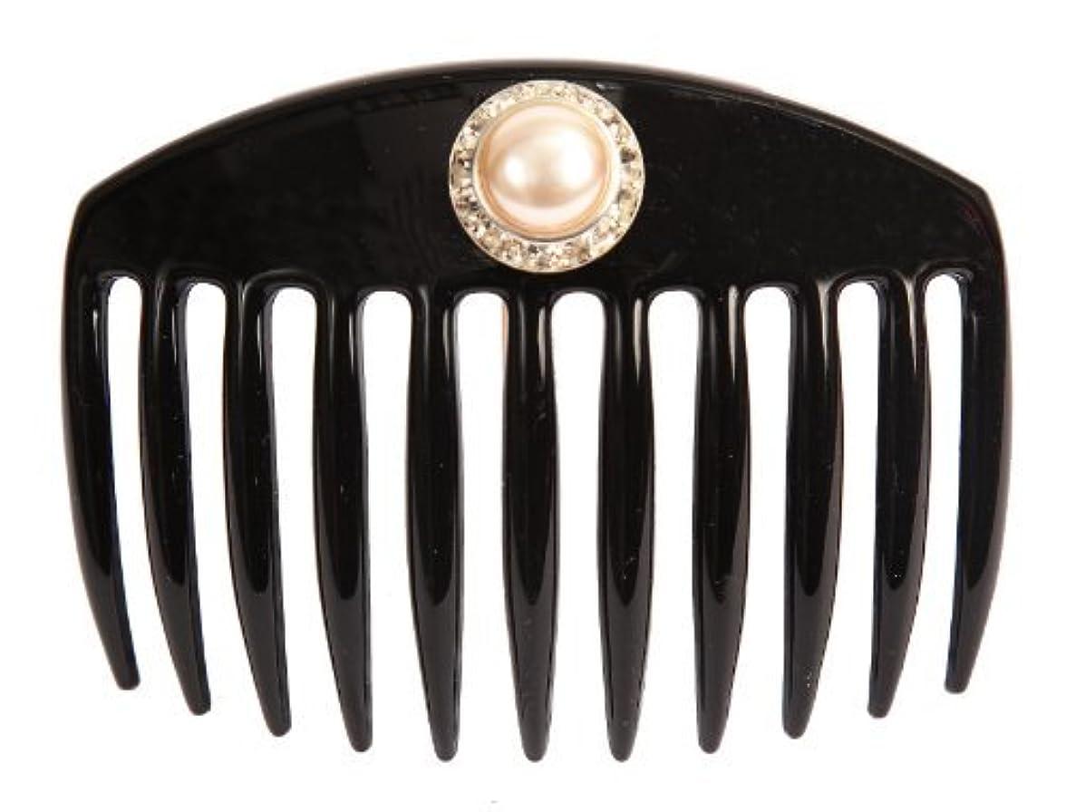 刺すメトロポリタン無線Caravan Hand Decorated French Comb with Large Pearl and Swarovski Stones In Silver Setting, Black.65 Ounce [並行輸入品]