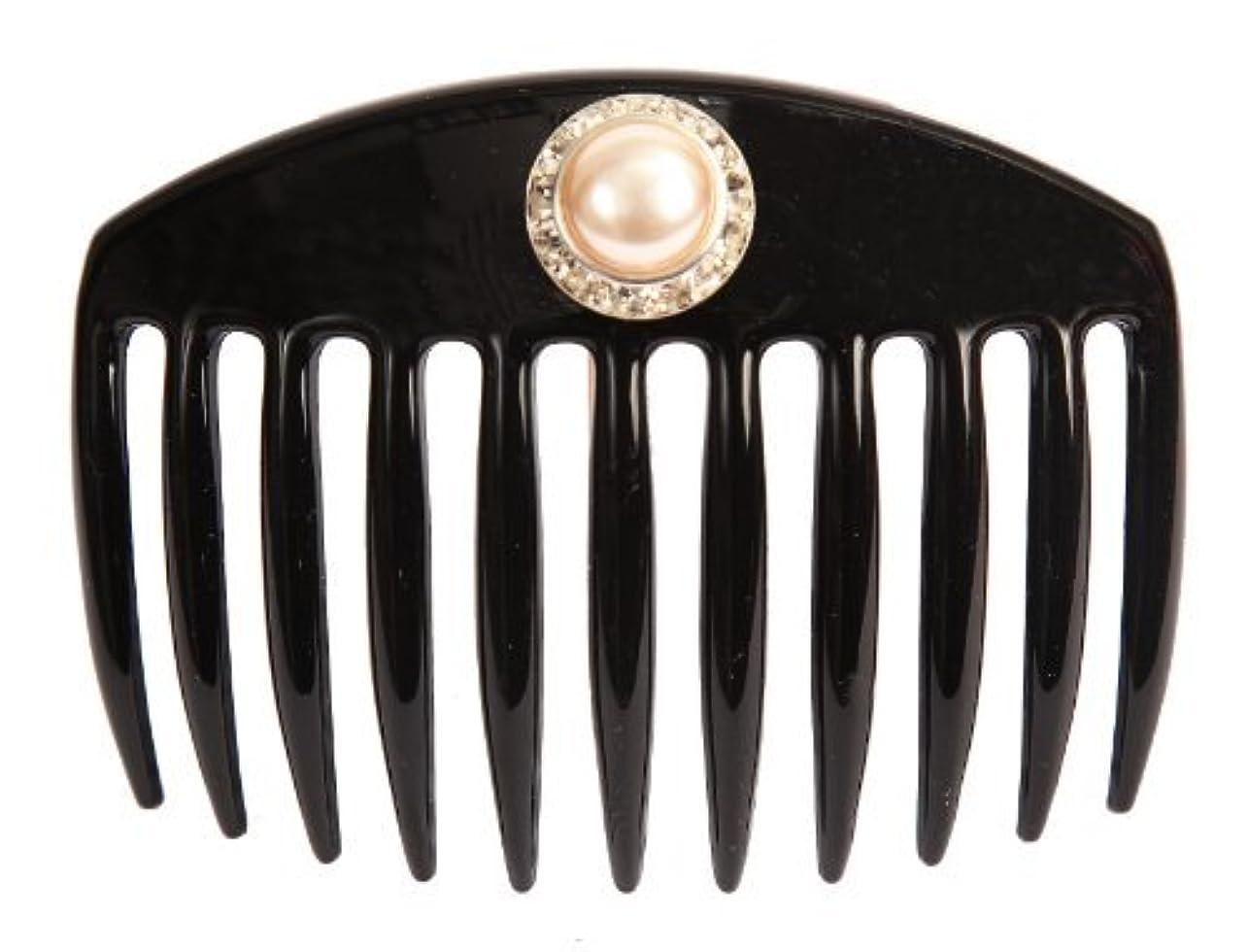 頭痛憎しみホラーCaravan Hand Decorated French Comb with Large Pearl and Swarovski Stones In Silver Setting, Black.65 Ounce [並行輸入品]
