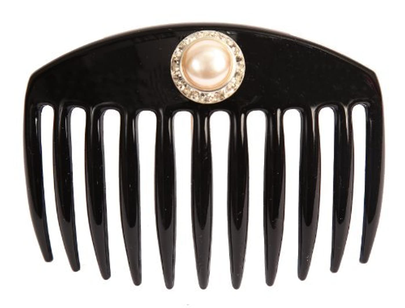改革有害夢中Caravan Hand Decorated French Comb with Large Pearl and Swarovski Stones In Silver Setting, Black.65 Ounce [並行輸入品]