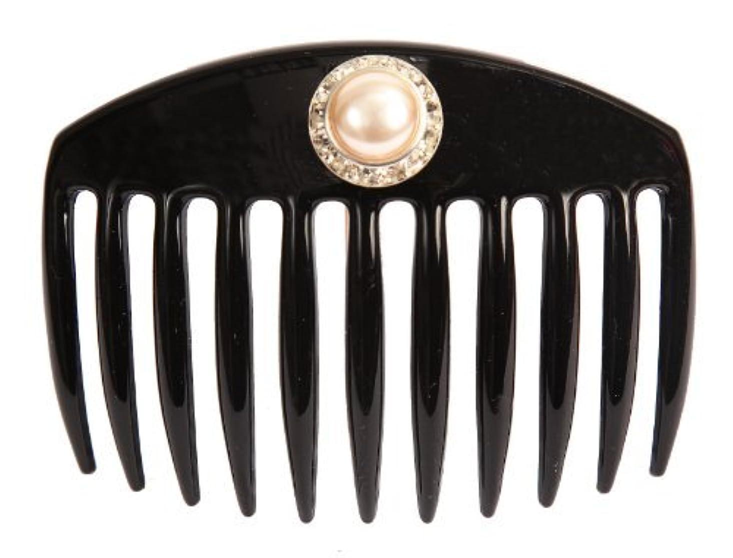 収縮廊下シロクマCaravan Hand Decorated French Comb with Large Pearl and Swarovski Stones In Silver Setting, Black.65 Ounce [並行輸入品]