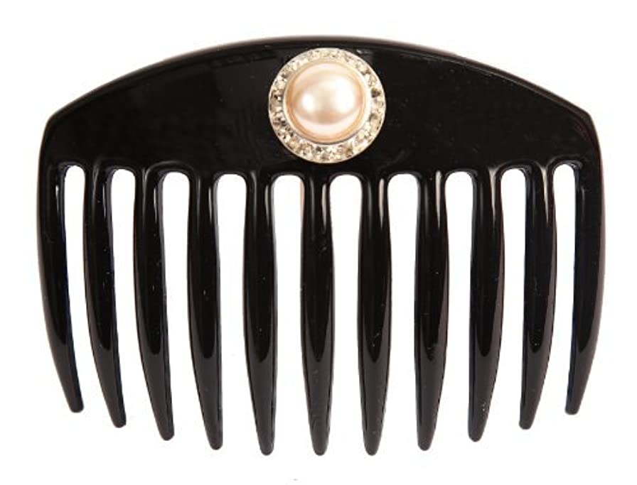 Caravan Hand Decorated French Comb with Large Pearl and Swarovski Stones In Silver Setting, Black.65 Ounce [並行輸入品]