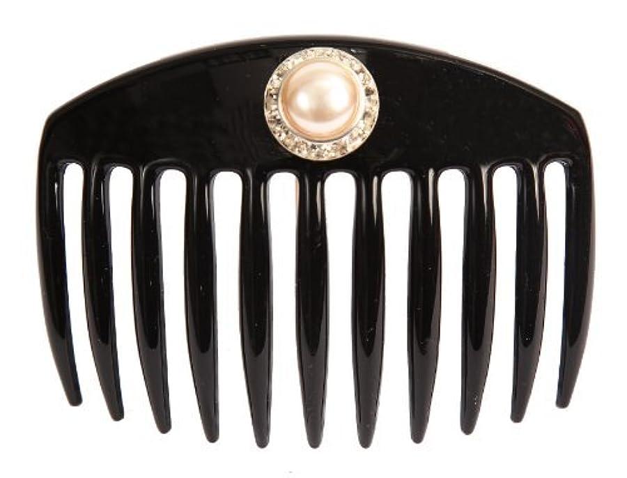 顕現平方掻くCaravan Hand Decorated French Comb with Large Pearl and Swarovski Stones In Silver Setting, Black.65 Ounce [並行輸入品]