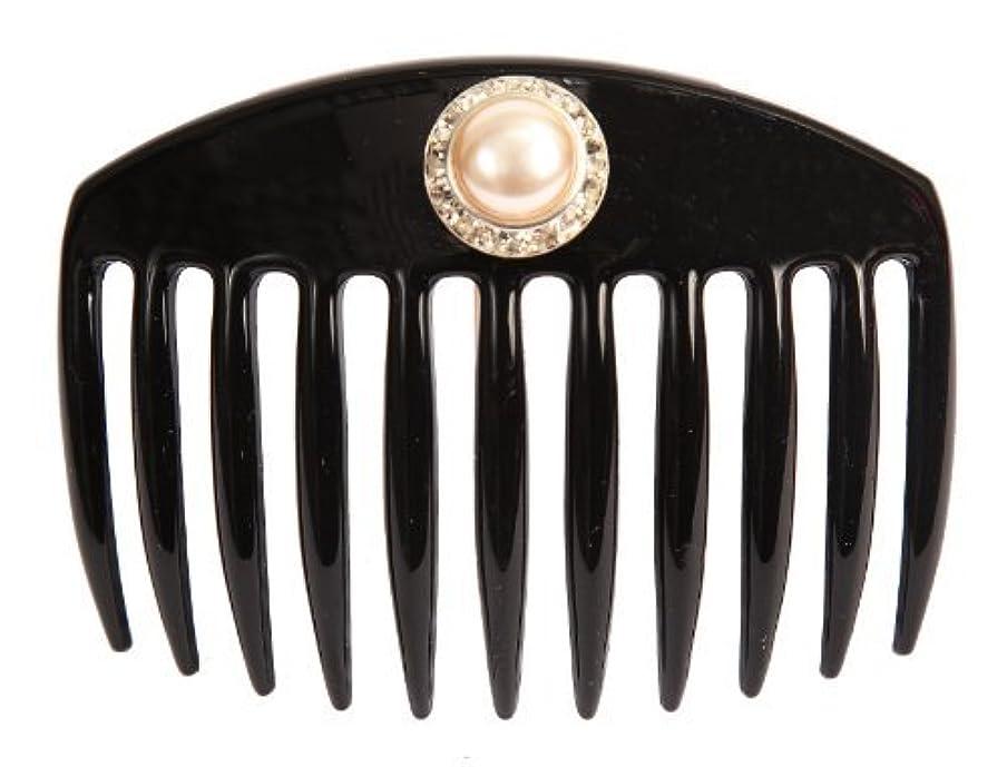 朝ごはんアーティキュレーション不良品Caravan Hand Decorated French Comb with Large Pearl and Swarovski Stones In Silver Setting, Black.65 Ounce [並行輸入品]
