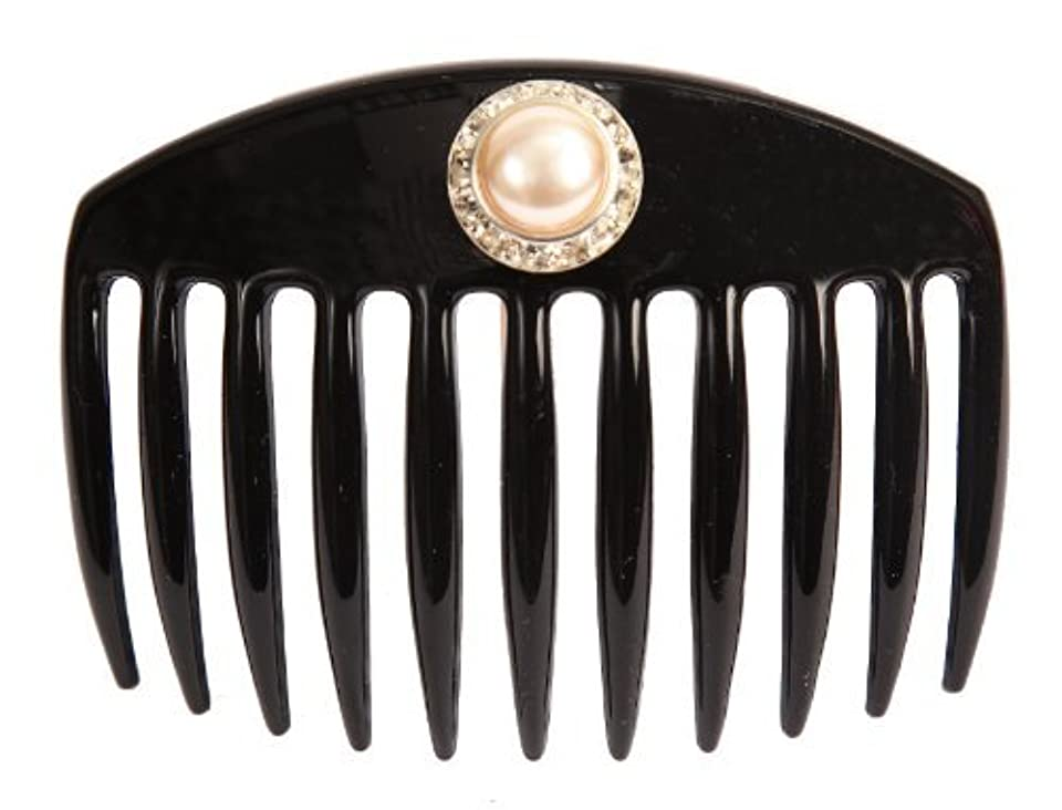 信じる梨ルーキーCaravan Hand Decorated French Comb with Large Pearl and Swarovski Stones In Silver Setting, Black.65 Ounce [並行輸入品]