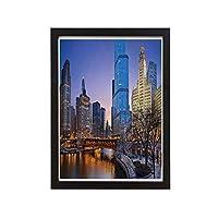 川橋と高層ビルコスモポリタン市イメージ、14x11インチ黒の純木のフォトフレーム塗装壁アート、レトロなシンプルな壁画国立装飾壁アーティスト住宅装飾(フレーム付き)とアメリカのシカゴの街並み
