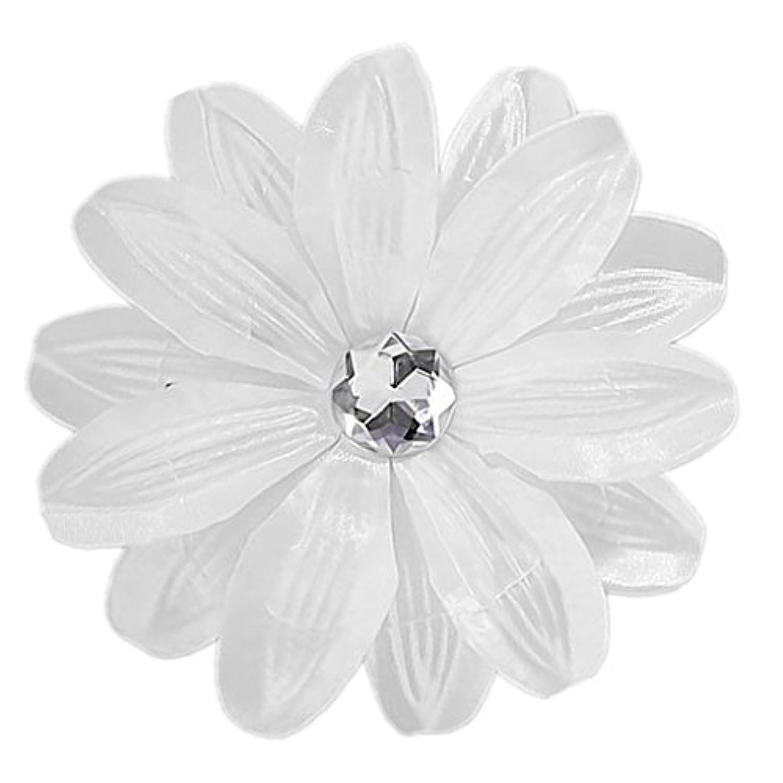 【ノーブランド品】1個 お花 ヘアクリップ ヘアピン ヘアアクセサリー ラインストーン 白