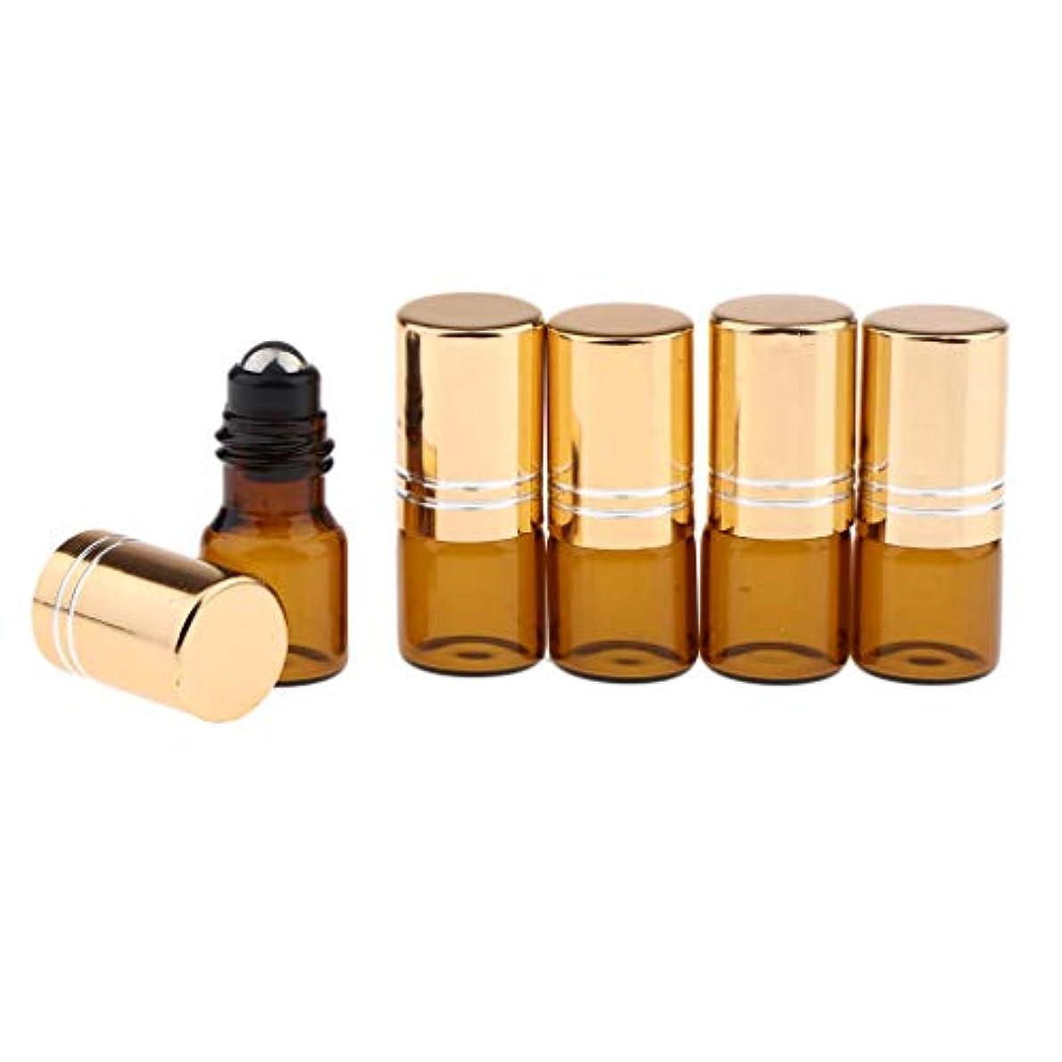 数字飼料冷淡なP Prettyia 2ミリリットル 空のボトル 香水 精油 ロールボトル ローラーボトル 詰め替えボトル 全3色 全5本 - ゴールド