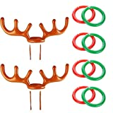 2Pcs Christmas Party Inflatable Reindeer Antler Hat Ring Toss Game with Rings for Family Kids Office Xmas Holiday Party Fun Games