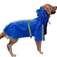 Dog Raincoat Leisure Waterproof Lightweight Dog Coat Jacket Reflective Rain Jacket with Hood for Small Medium Large Dogs(BlueXL) [並行輸入品]