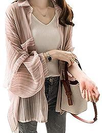 [アルジェント アパ] シャツカーディガン 透け感 とろみ パフスリーブ 冷房対策 襟付き オフィスカジュアル M L XL