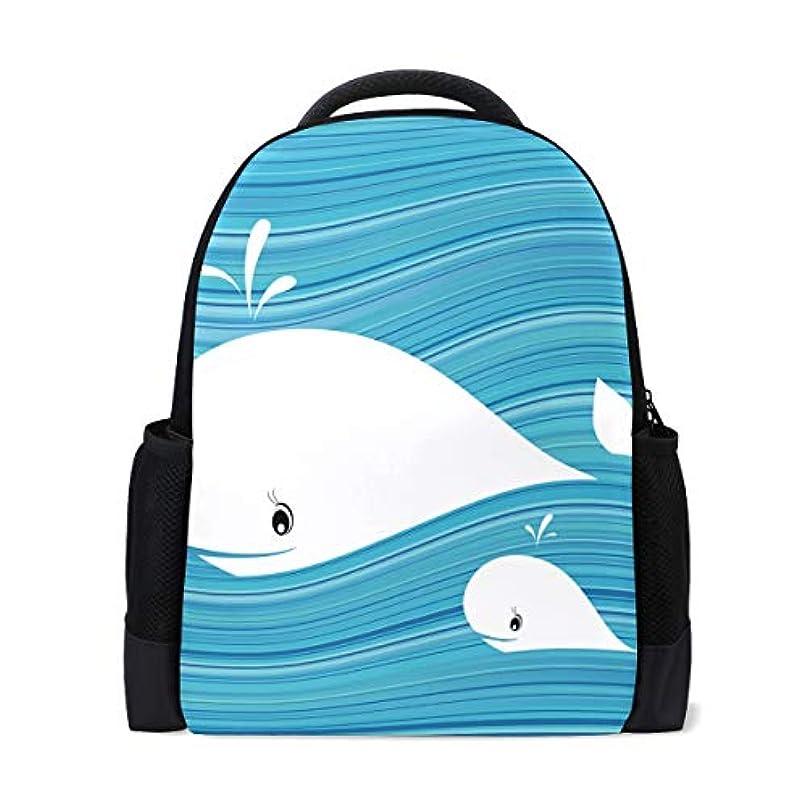 委託戻る実施するユキオ(UKIO) リュック レディース リュックサック バックパック PCバック ビジネスリュック おしゃれ 大容量 防水 軽量 白鯨 ブルー背景 修学旅行 遠足 登山 アウトドア デイパック 子供 通学