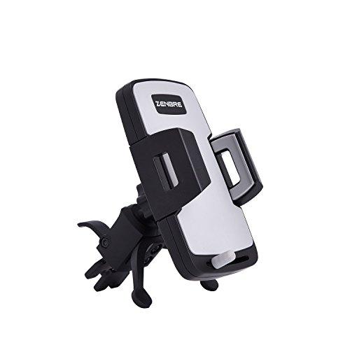 携帯車載ホルダー、ZENBRE CM3エアコン吹き出し口取り付けスマホホルダー/自由調節可能/360度回転可能/取り外しボタン付き/多機種対応(クランプ)