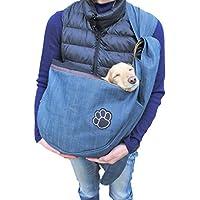 ぺットスリング ペットバッグ 犬抱っこ紐 ドッグスリング 小型犬 中型犬 10kg 耐久性 ペット スリング ペットバッグ 長さ調整 無段階調整 (デニム)