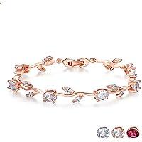 FUNOJOY Luxury Women Bangle Bracelets - Rose Gold Silver Plated Diamond Tennis Bracelet Floral Crystal Bracelets for Women Bridal Wedding Birthday