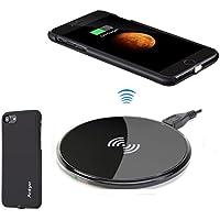 Antye Qi (チー)ワイヤレス充電器キットiPhone 7 (2016), 取り外し可能なライトニングコネクタレシーバーケースを充電ワイヤレスおよびワイヤレス充電パッドを含みます (黒/円形 1 ( iPhone 7 ))