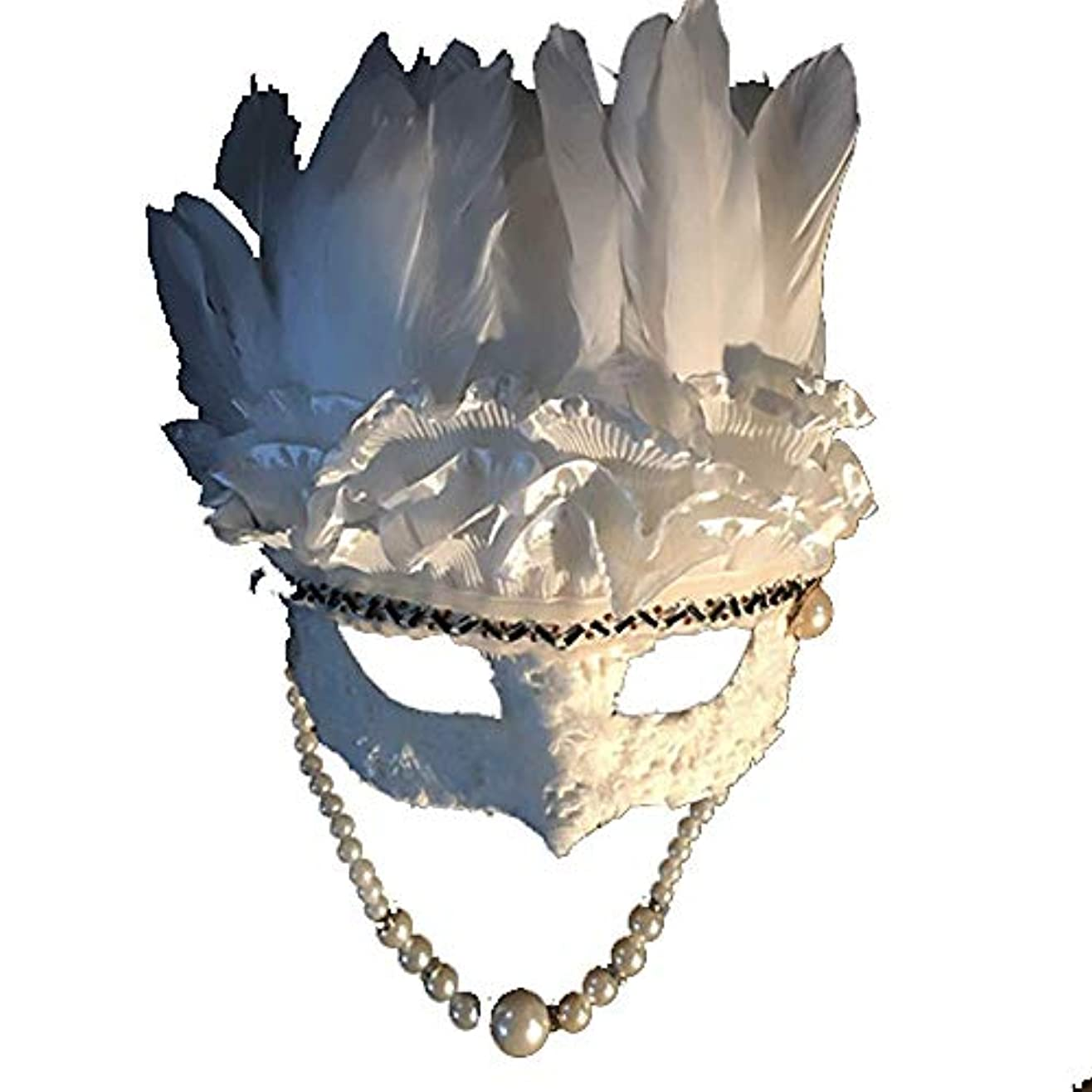 遡る航海十分にNanle ハロウィンクリスマスフェザースパンコール刺繍ビーズマスク仮装マスクレディミスプリンセス美容祭パーティーデコレーションマスク