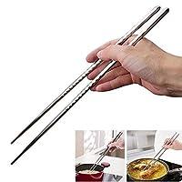 DayCount 5組 エクストラロング箸 料理用 揚げ物用 長さ15インチ ステンレススチール スパイラル箸 食器