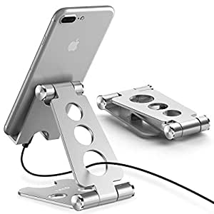 スマホ スタンド・タブレット スタンド 【デュアル折り畳み式】 iPhone/iPad スタンド 角度調整可能 携帯スタンド Nintendo Switch 対応 充電スタンド アイフォン・iPad9.7・iPhone xs max/8Plus/5s・Samsung S8/note8/S3・ LG・ Sony Xperia・ Nexus 7等4-12.9inchデバイスに対応 プレイスタンド【DIVI】(シルバー)