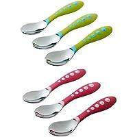 Gerber Stainless Steel Tip Kiddy Cutlery Spoons, 6 Pack, Pink/Green by NUK