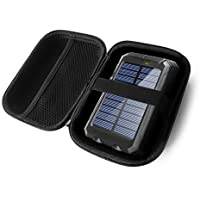 FitSand ハードケース BESWILL 10000MAH ソーラーフォン充電器 防水 ポータブル 外部バッテリーパック デュアルUSBソーラーパワーバンク 旅行用ジッパーキャリーEVA 最高の保護ボックス