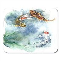 """マウスパッドpアジアのKo魚ノートブック、デスクトップコンピューターマット9.5"""" X 7.9""""オフィス用品の白の美しい中国のマウスパッドの水彩画"""