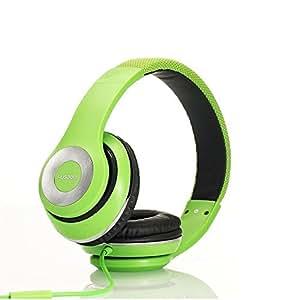 AUSDOM 有線ヘッドフォン 40mmドライバー 密閉型 折りたたみ式 高音質 マイク付き ハンズフリー通話可能 パソコン&スマートホンなどに対応 (グリーン)