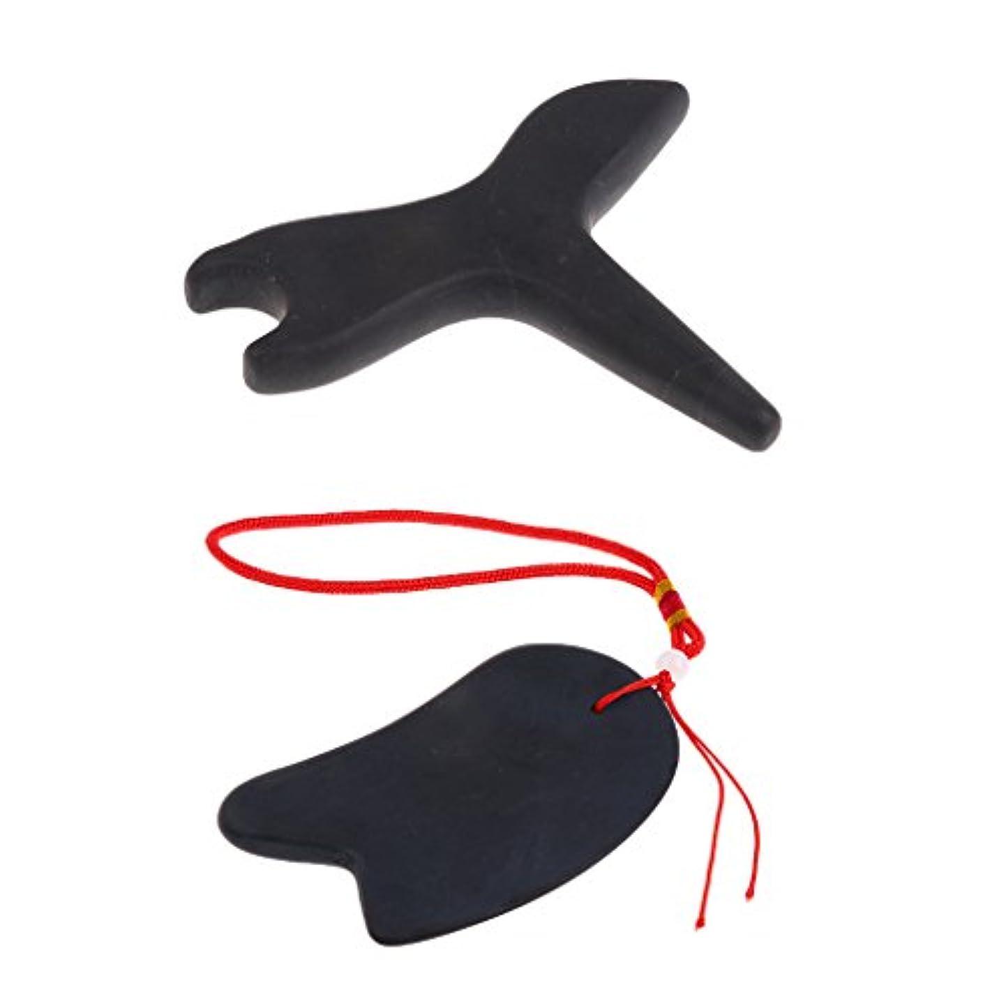 型住人不安定なマッサージボード グアシャボード 掻きツール 天然石 トリガーポイント 伝統的 マッサージツール 2個